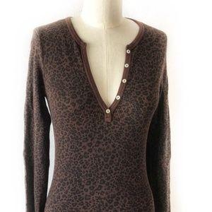 Splendid Thermal Long Sleeve Cheetah Henley Top